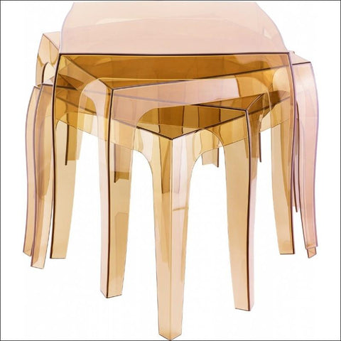 Compamia Queen Polycarbonate Side Table Transparent Amber ISP065-TAMB - RestaurantFurniturePlus + Chairs, Tables and Outdoor - 2