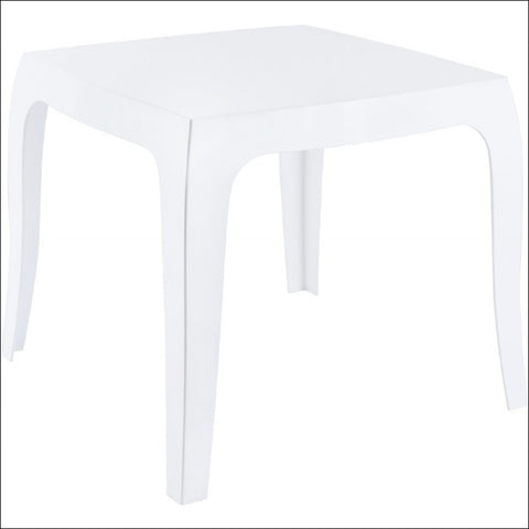Compamia Queen Polycarbonate Side Table Glossy White ISP065-GWHI - YourBarStoolStore + Chairs, Tables and Outdoor  - 2