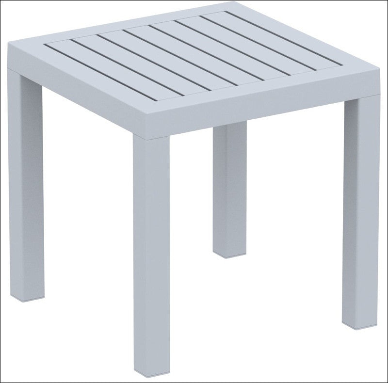 Compamia Ocean Square Resin Side Table Silver Gray ISP066-SIL - YourBarStoolStore + Chairs, Tables and Outdoor  - 1