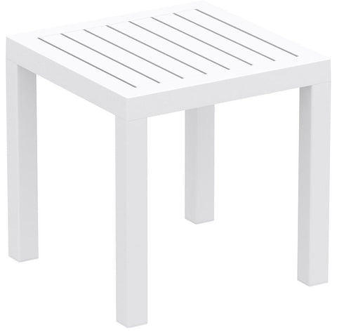 Compamia Ocean Square Resin Side Table White ISP066-WHI - YourBarStoolStore + Chairs, Tables and Outdoor  - 1