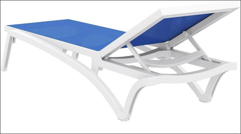 Compamia Pacific Sling Chaise Lounge White Frame Blue Sling ISP089-WHI-BLU - RestaurantFurniturePlus + Chairs, Tables and Outdoor - 7