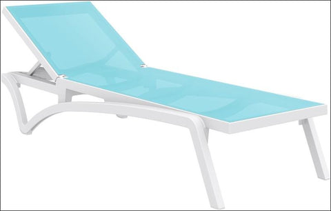 Compamia Pacific Sling Chaise Lounge White Frame Turquoise Sling ISP089-WHI-TRQ - RestaurantFurniturePlus + Chairs, Tables and Outdoor - 1