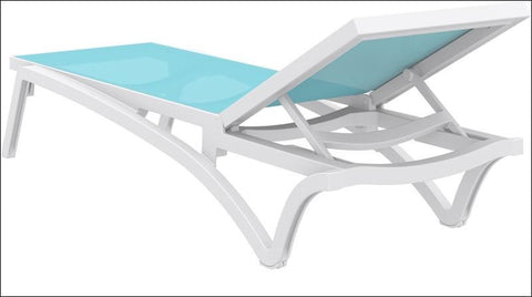 Compamia Pacific Sling Chaise Lounge White Frame Turquoise Sling ISP089-WHI-TRQ - RestaurantFurniturePlus + Chairs, Tables and Outdoor - 3