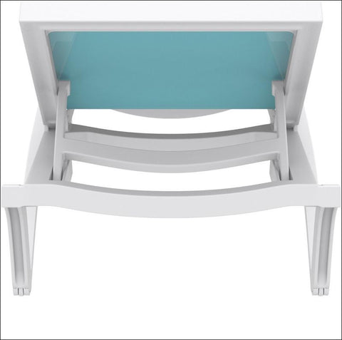 Compamia Pacific Sling Chaise Lounge White Frame Turquoise Sling ISP089-WHI-TRQ - RestaurantFurniturePlus + Chairs, Tables and Outdoor - 5