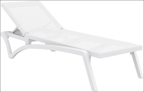 Compamia Pacific Sling Chaise Lounge White Frame White Sling ISP089-WHI-WHI - RestaurantFurniturePlus + Chairs, Tables and Outdoor - 1