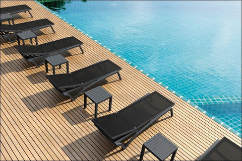 Compamia Pacific Sling Chaise Lounge Black Frame Black Sling ISP089-BLA-BLA - RestaurantFurniturePlus + Chairs, Tables and Outdoor - 6