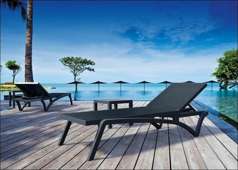 Compamia Pacific Sling Chaise Lounge Black Frame Black Sling ISP089-BLA-BLA - RestaurantFurniturePlus + Chairs, Tables and Outdoor - 2