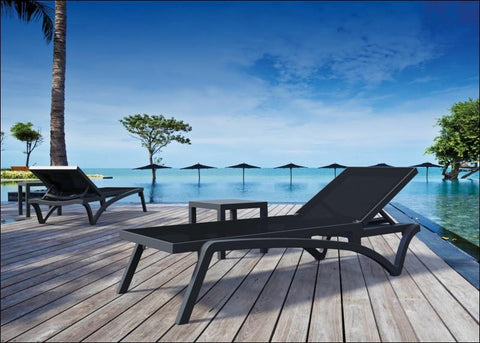 Compamia Pacific Sling Chaise Lounge Black Frame Black Sling ISP089-BLA-BLA - RestaurantFurniturePlus + Chairs, Tables and Outdoor - 7