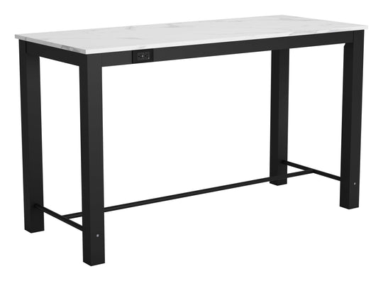 Dawson Faux Marble Bar Table White & Matte Black