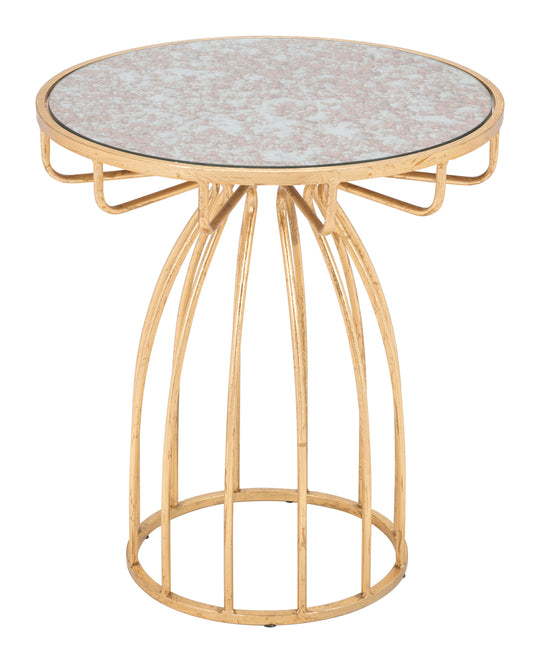 Silo Side Table Mirror & Gold