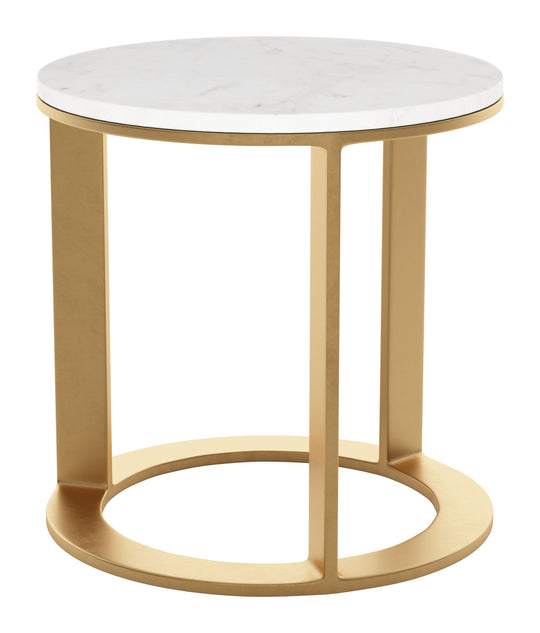 Helena Marble Side Table White & Gold