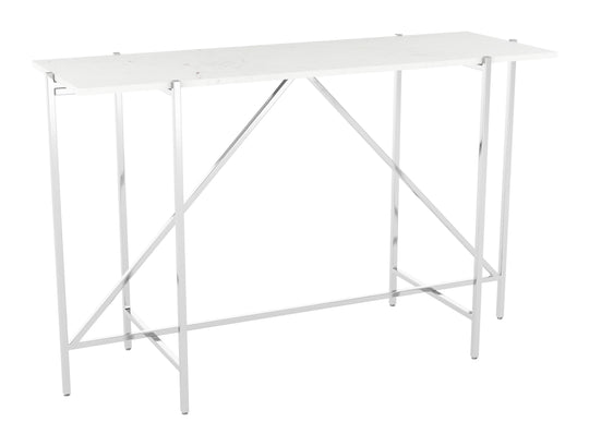 Titan Marble Console Table White & Silver