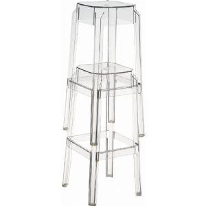 Compamia Fox Polycarbonate Counter Stool Clear Transparent ISP036-TCL - RestaurantFurniturePlus + Chairs, Tables and Outdoor - 1