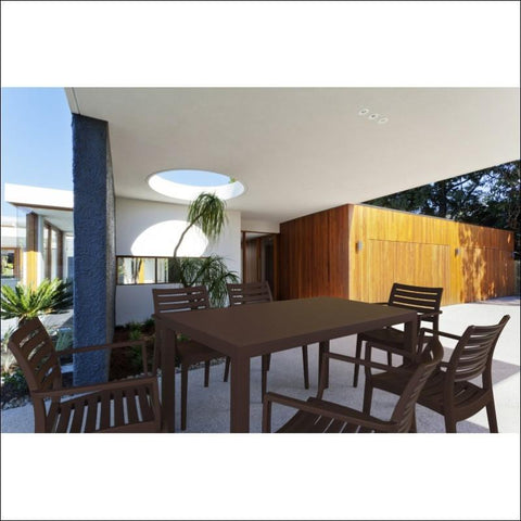 Compamia Artemis Resin Rectangle Dining Set with 6 arm chairs Teak Brown ISP1862S-TEA - RestaurantFurniturePlus + Chairs, Tables and Outdoor - 3