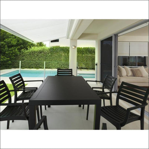 Compamia Artemis Resin Rectangle Dining Set with 6 arm chairs Dark Gray ISP1862S-DGR - RestaurantFurniturePlus + Chairs, Tables and Outdoor - 4