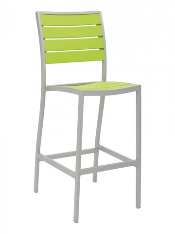 FS Aluminum Frame Barstool With Faux Teak Seat and Back