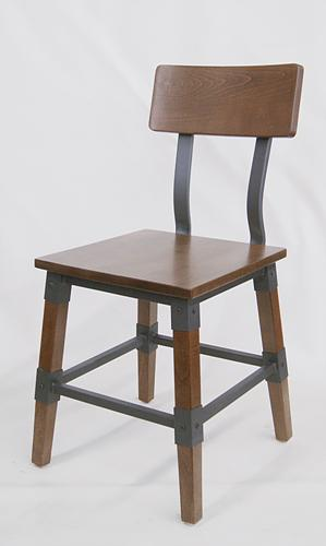 Black Walnut Wood and Metal Side Chair