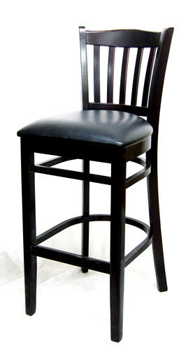 European Beechwood Bar Stool w/Black Vinyl Seat