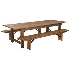 Antique Rustic Folding Farm Table and Two Bench Set 9' x 40""