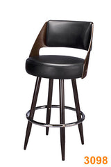 Wood Grain Metal Frame Bar Stool (Walnut) w/ chrome ring and Black Vinyl