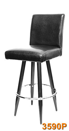Wood Grain Metal frame Bar Stool (Walnut) w/ chrome ring