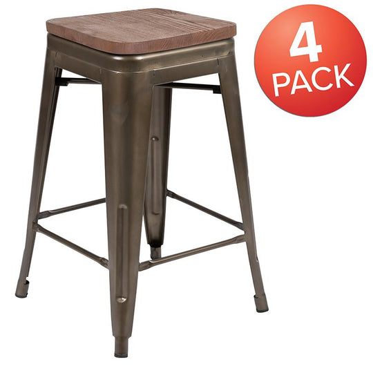 "24"" High Metal Counter-Height Indoor Bar Stool with Wood Seat - Stackable Set of 4"