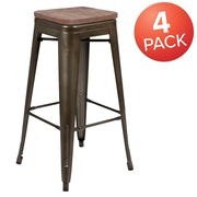 "30"" High Metal Indoor Bar Stool with Wood Seat - Stackable Set of 4"