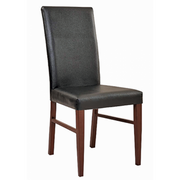 Silhouette Metal Dining Chair with Walnut Color Frame and Black Vinyl