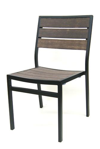 Outdoor Synthetic Teak Mocha Side Chair