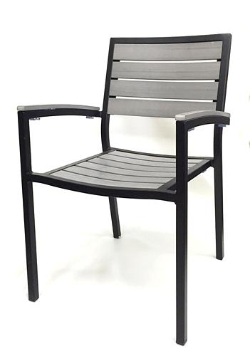 Outdoor Synthetic Gray Teak Armchair