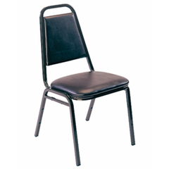 "Banquet Black Metal Dining Chair with 2"" Black Vinyl Seat"