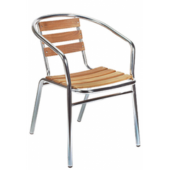 Newport Outdoor Aluminum Chair with Teak Slats