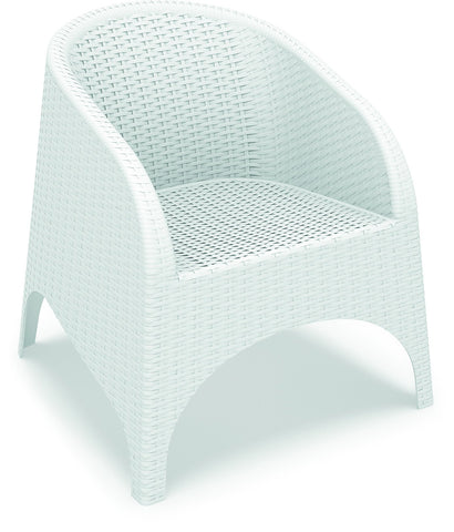 Compamia Aruba Resin Wickerlook Chair White ISP804-WH - RestaurantFurniturePlus + Chairs, Tables and Outdoor - 1