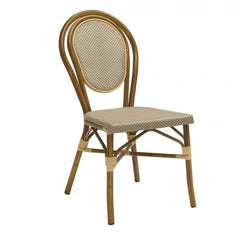 Paris Outdoor Aluminum Chair with Faux Bamboo Frame and Beige-Platinum Textilene
