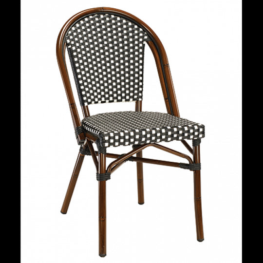 Marina Outdoor Aluminum Chair with Walnut Frame and Black/White Synthetic Rattan