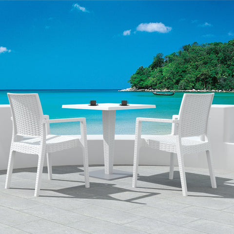 Compamia Ibiza Resin Wickerlook Dining Arm Chair White ISP810-WH - RestaurantFurniturePlus + Chairs, Tables and Outdoor - 5