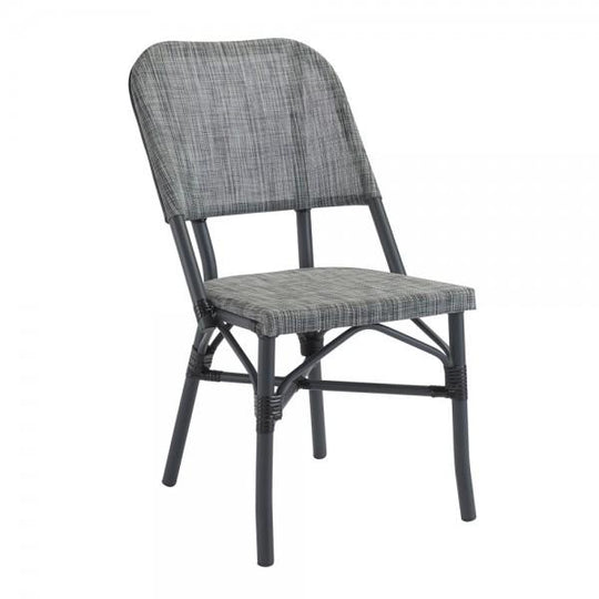Barcelona Outdoor Aluminum Chair with Charcoal Frame and Gray Textilene