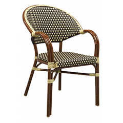Capri Outdoor Aluminum Armchair with Mahogany Frame and Beige-Brown Woven Nylon