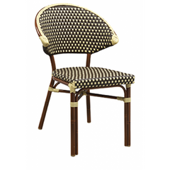 Capri Outdoor Aluminum Chair with Mahogany Frame and Beige-Brown Woven Nylon