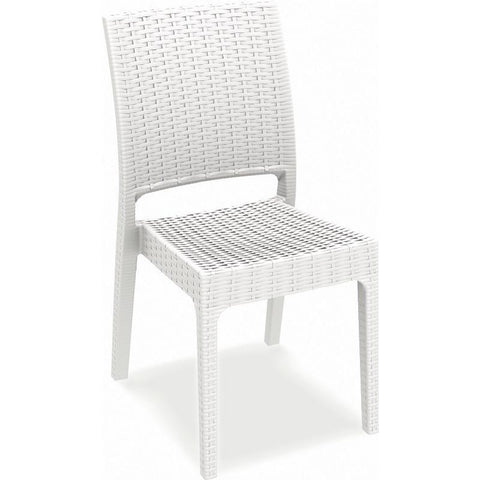 Compamia Florida Resin Wickerlook Dining Chair White ISP816-WH - RestaurantFurniturePlus + Chairs, Tables and Outdoor - 1