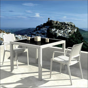 Compamia Capri Resin Dining Arm Chair White ISP820-WH - YourBarStoolStore + Chairs, Tables and Outdoor  - 8