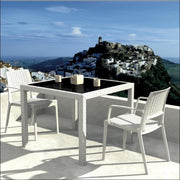 Compamia Capri Resin Dining Arm Chair White ISP820-WH - YourBarStoolStore + Chairs, Tables and Outdoor  - 9