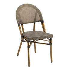 Ibiza Outdoor Aluminum Chair with Walnut Frame and Espresso Textilene