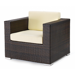 Monterey All Weather Espresso Wicker Armchair with Rust Free Aluminum Frame and White Cushions