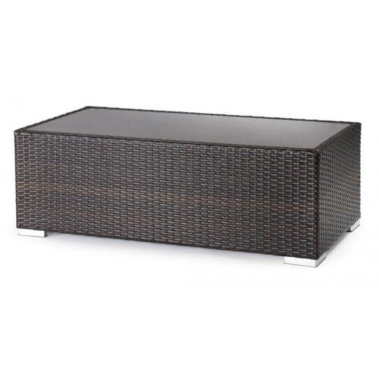 Monterey All Weather Espresso Wicker Coffee Table with Rust Free Aluminum Frame and Glass Top