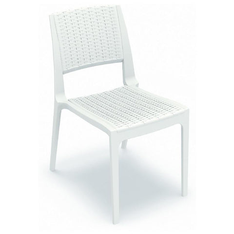 Compamia Verona Resin Wickerlook Dining Chair White ISP830-WH - RestaurantFurniturePlus + Chairs, Tables and Outdoor - 1