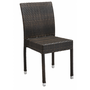 Amalfi Outdoor Espresso Synthetic Wicker Side Chair with Aluminim Frame