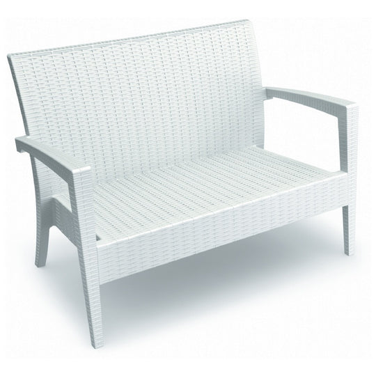 Compamia Miami Resin Loveseat White ISP845-WH - RestaurantFurniturePlus + Chairs, Tables and Outdoor - 1