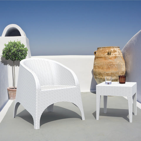 Compamia Miami Square Resin Side Table White ISP858-WH - RestaurantFurniturePlus + Chairs, Tables and Outdoor - 3