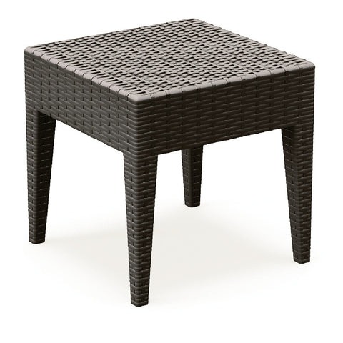 Compamia Miami Square Resin Side Table Brown ISP858-BR - YourBarStoolStore + Chairs, Tables and Outdoor  - 1